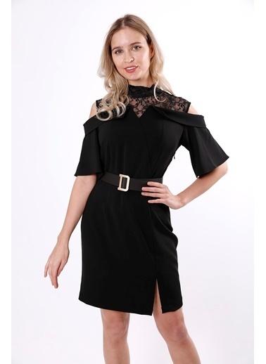 Clıche Dantel Detaylı Pudra Elbise Siyah